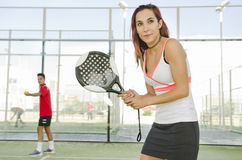 Woman in court ready for play paddle tennis Royalty Free Stock Photo