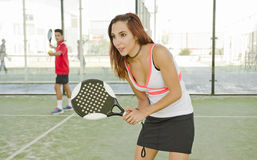 Woman in court ready for play paddle tennis Stock Images