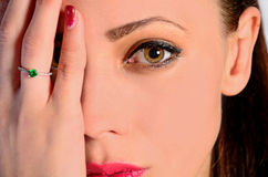 Woman cover eye Stock Images