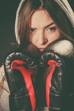 Woman cover face with boxing gloves. Fighting boxing and defense. Sportsmanship and strong body. Young woman wear sportswear and boxing gloves cover face look royalty free stock photos