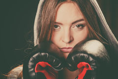 Woman cover face with boxing gloves. Fighting boxing and defense. Sportsmanship and strong body. Young woman wear sportswear and boxing gloves cover face look stock image