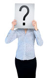 Woman cover face with question board Stock Photography