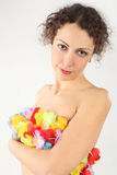 Woman cover her naked body by flower garland Royalty Free Stock Photo