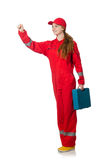 Woman in coveralls pressing Royalty Free Stock Photo