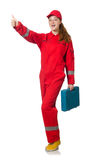 Woman in coveralls pressing Stock Image