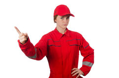 Woman in coveralls pressing Royalty Free Stock Images