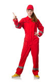 Woman in coveralls pressing Royalty Free Stock Photos
