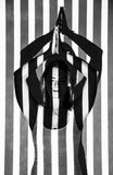 Woman covered with black and white vertical lines. Beautiful young woman covered with black and white vertical lines Stock Photography