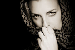 Woman with covered face. Muslim woman with her face covered Royalty Free Stock Photo