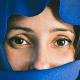 Woman with covered face royalty free stock photo