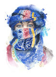 Woman covered face wearing scarf muslim girl portrait moroccan watercolor painting illustration isolated on white background. Woman covered face wearing scarf Stock Photo