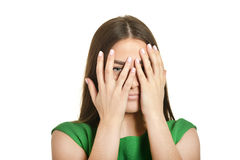 Woman covered her face Royalty Free Stock Photos