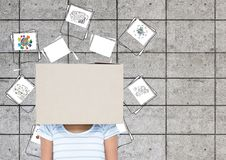 Woman Covered Her Face With Cardboard Box Royalty Free Stock Image