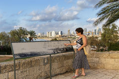 Woman covered panorama of the city Stock Photography