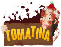 Woman Covered with Tomatoes Holding a Sign for Tomatina Festival, Vector Illustration. Poster with young woman all covered with tomatoes holding a greeting Stock Images