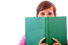 Woman covering with a book Stock Image