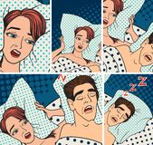Woman covering ears while man snoring in bed at home sleep problem vector. Stock Photos