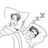 Woman covering ears while man snoring in bed at home sleep problem vector. Female lying on bed and closing her ears with pillow vector. Night sleep problem and Stock Photography