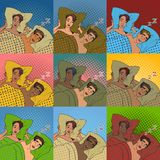 Woman covering ears while man snoring in bed at home sleep problem vector. Female lying on bed and closing her ears with pillow vector. Night sleep problem and Royalty Free Stock Image