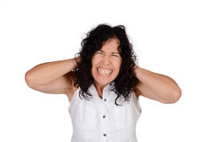 Woman covering her ears. Royalty Free Stock Photos