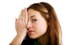 Woman covering her eye Stock Photography