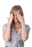 Woman covering her eyes with hands Royalty Free Stock Photo
