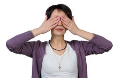 Woman covering her eyes with her hands Royalty Free Stock Photography