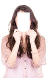 Woman Covering Her Face With Blank card Stock Image
