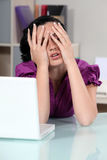 Woman covering her face Stock Photos