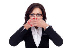 Woman covering her mouth Royalty Free Stock Photo