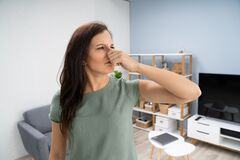 Free Woman Covering Her Nose From Bad Smell Royalty Free Stock Image - 182255596