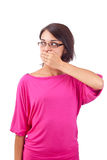 Woman covering mouth Royalty Free Stock Images