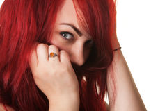 Woman Covering Mouth with Hair Stock Photos