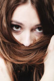 Woman covers the face by long brown hairs Stock Photos