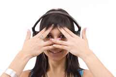 Woman covers her eyes and peep Royalty Free Stock Photo