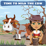 Woman with cow, character from wild West series Stock Photography