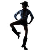 Woman cow girl dancer happy dancing country music Stock Photo