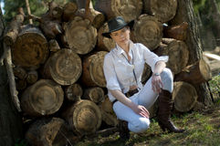 Woman-cowboy Royalty Free Stock Photo