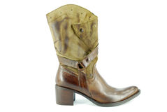 Woman cowboy brown boot Royalty Free Stock Photo