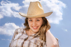Woman with cowboy hat Stock Images