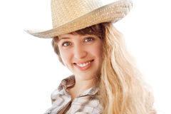 Woman with cowboy hat Royalty Free Stock Photography