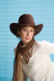 Woman In a Cowboy Hat Stock Photography