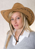 Woman in cowboy hat stock photography