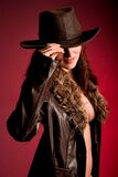 Woman in cowboy hat Royalty Free Stock Photography