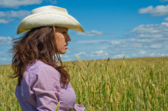 A woman in a cowboy hat Royalty Free Stock Photos