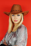 Woman in a cowboy hat Royalty Free Stock Photo
