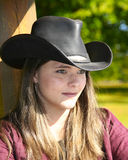 Woman in cowboy hat royalty free stock photos