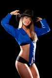 Woman in a cowboy hat Royalty Free Stock Photography
