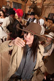 Woman in Cowboy Hat Drinks Whiskey Stock Photos