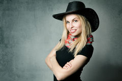 Woman with cowboy hat stock photo